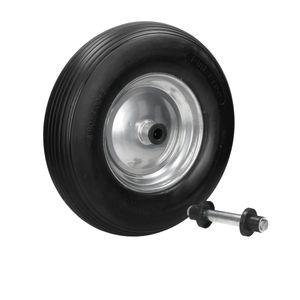 ECD Germany Schubkarrenrad aus pannensicherem PolyurethanVollgummi mit Achse - Reifen mit Stahlfelge - 4.80/4.00-8 - Durchmesser 390 mm - Schwarz - Ersatzrad Gummirad Schubkarren Rad