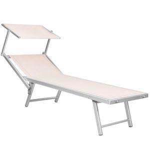 Premium Aluminium Liegestuhl Garten Sonnenliege Strandstuhl hohe Qualität mit Dach