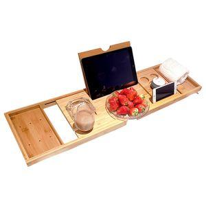 Badewanne Caddy Tablett Bamboo Spa Badewanne Caddy Organizer Buch Wein Tablet Halter Lesestaender rutschfeste Unterseite ausziehbare Seiten