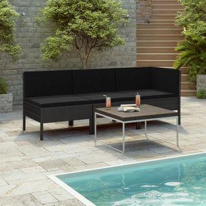 3-tlg. Garten Möbel Set Garten-Lounge-Set   Gartengarnitur LoungeSet Lounge-Möbel Sitzgruppe Garten mit Auflagen Poly Rattan Schwarz  8590