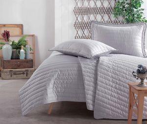Tagesdecke 260x240 cm. 3 teilig set, grau, unifarbe bettüberwurf für Doppelbett, Pedra V2
