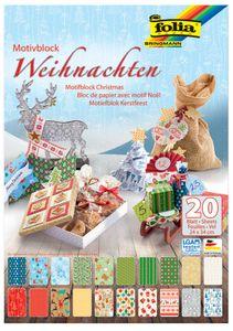 "folia Motivkartonblock ""Weihnachten III"" 240 x 340 mm 270 g/qm 20 Blatt"
