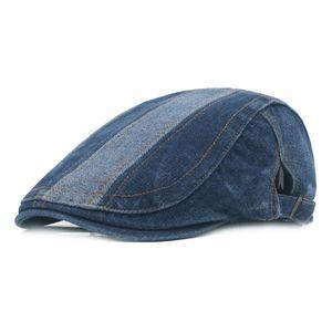 Sommer Jeans Baskenmütze Hut Casual Unisex Denim Baskenmütze Ausgestattet Sonne Cabbie Flache Kappe
