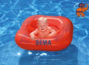 BEMA Baby-Schwimmsitz, orange, 72 x 70 cm, mit vier Luftkammern und zusätzlichen Sicherheitsgurten; 18005