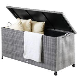 Casaria Poly Rattan Auflagenbox 122x56x61 cm Wasserdicht Rollbar 2 Gasdruckfedern Kissen Garten Box Truhe Grau