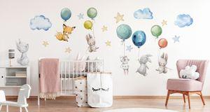 Muralo Wandsticker Häschen zwischen den Wolken 50 x 100 cm Wandtattoo Wanddeko Aufkleber Set Kinderzimmer XXL
