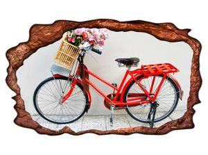 3D Wandtattoo Fahrrad rot Blume Retro Kunst Bild selbstklebend Wandbild Wandsticker Wohnzimmer Wand Aufkleber 11G514, Wandbild Größe F:ca. 140cmx82cm