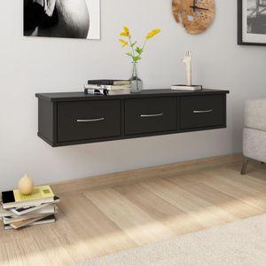 Designer Modern Wand-Schubladenregal Schwarz 88x26x18,5 cm Spanplatte   Hängeregal für Schlafzimmer Wohnzimmer
