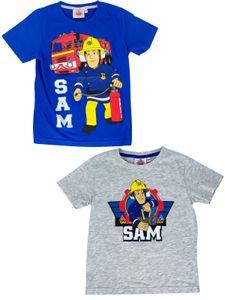 Feuerwehrmann Sam T-Shirt 2er Pack - für Jungs mit neuen Motiven von Fireman Sam, Größe:98/104