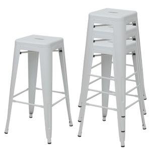 4x Barhocker HWC-A73, Barstuhl Tresenhocker, Metall Industriedesign stapelbar  weiß
