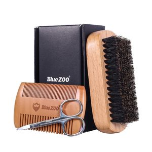 1 Stück Bartbürste,1 Stück Holzkamm,1 Stück Edelstahlschere Farbe Holz