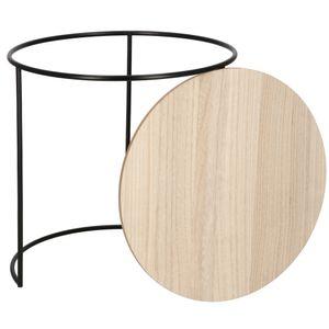 Couchtisch Beistelltisch Metall Tisch MDF Korbtisch Kaffeetisch Schwarz, Natural - Ø45 cm