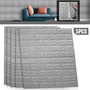 5PCS 70x77cm Grau Große 3D wasserdichte Fliesen Ziegel Wandaufkleber Selbstklebende Schaumstoffplatte 3D Wandaufkleber