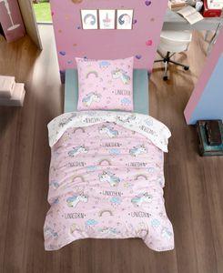Kinder Wende Bettwäsche 135x200 cm, 2 teilig, pink,100% Baumwolle, Einhorn