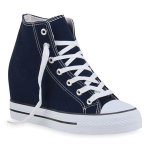 Giralin Damen Sneaker Schnürer Keilabsatz Schnür-Schuhe 836671, Farbe: Dunkelblau, Größe: 40