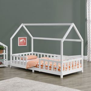 Kinderbett Sisimiut 90x200 cm Hausbett mit Rausfallschutz Bettenhaus mit Lattenrost Kiefernholz Weiß [en.casa]