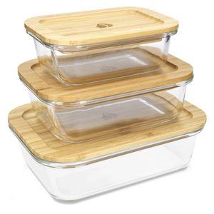 Frischhaltedosen 3-teiliges Set mit Bambusdeckel