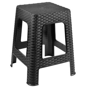 Hocker Rattan Badhocker Sitzhocker Stapelbar Kunststoff Campinghocker Anthrazit