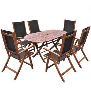 Huicheng 7-tlg. Garten Essgruppe Sitzgruppe Sitzgarnitur mit Klappbar Gartentisch und 6 Verstellbar Rückenlehne Klappstühle / Massivholz Akazie / VD26681_DE