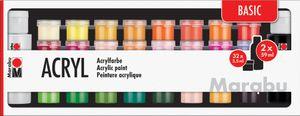 "Marabu Acrylfarben-Set ""BASIC"" 32 x 3,5 ml / 2 x 59 ml"