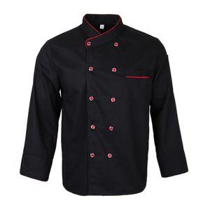Blesiya Unisex Chef Coat Langarmjacke Atmungsaktive Leichte Küchenbekleidung wie beschrieben Schwarz 3XL
