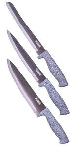 Culinario 3-tlg. Granito Messer-Set, Chefmesser 33 cm, Küchenmesser 32 cm, Brotmesser 32 cm, titatniumbeschichteter Stahl, ergonomische Griffform