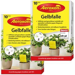 Aeroxon – Gelbfalle – Gelbtafeln – 20 Gelbsticker, große Klebefläche, perfekt gegen Ungeziefer in Ihrem Garten – Gegen Trauermücken, Blattläuse, Minierfliegen und weiße Fliegen