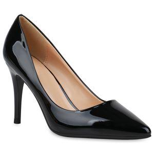 Mytrendshoe Damen Spitze Pumps Elegante Abendschuhe Stiletto High Heels 833509, Farbe: Schwarz, Größe: 38
