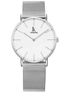 Alienwork IK Damen Herren Armbanduhr Quarz silber mit Metall Mesh Armband Edelstahl weiss Ultra-flach Slim-Uhr