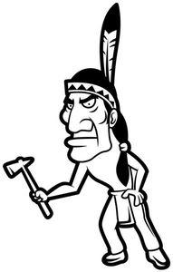 Wandtattoo Indianer lustig Bild Western Indian Aufkleber Wandaufkleber Autoaufkleber Turaufkleber WC Tur Bad Auto 5A052, Farbe:Pastellorange glanz, Hohe:70cm