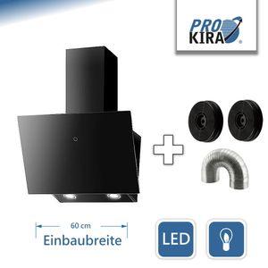 PROKIRA® DH60GB-01 Kopffrei 350 m³ LED Glas 60 cm Haube Ablufthaube Umluft Dunstabzugshaube Wandhaube Schwarz