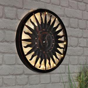Nostalgische Solar LED Wandlampe Sonne Ø ca.40cm