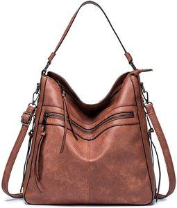 Handtaschen Damen Kunstleder Umhängetasche Designer Taschen Hobo Taschen mit Quasten Große--Braun