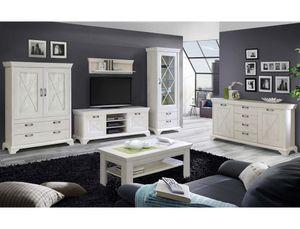 Wohnzimmer Kasimir 32 Pinie weiß 6-teilig LED-Beleuchtung Landhausstil