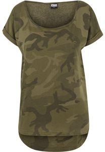 Urban Classics Female Shirt Ladies Camo Back Shaped Tee Olive Camouflage-XS