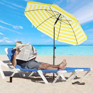 Strand sonnenschirm | sonnenschirm aus polyester mit Glasfaserspeichen, Tragetasche, 160 cm, gelb und weiße Streifen