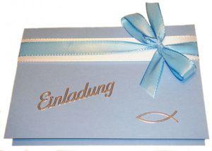 10 Stück Einladung Einladungskarten Taufe Kommunion Konfirmation Einladungen KT004 hellblau
