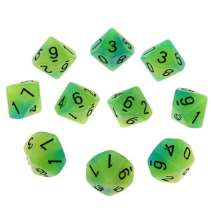 Mehrseitige Würfel Nachtleuchtende polyedrische Würfel D10 für Dungeons & 16mm Grün + Blau