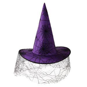 Halloween Spinnennetz Muster Zauberer Hut Hexenhüte Hexe Kostüme für Party Cosplay