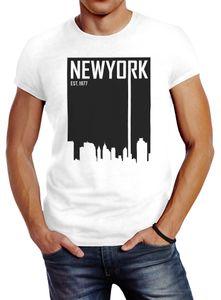 Herren T-Shirt New York Skyline Aufdruck Slim Fit Neverless® weiß XL