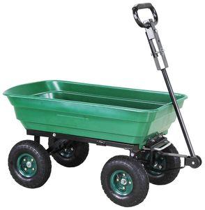 """Miweba Bollerwagen """"Dumper"""" mit Kippfunktion, Lenkachse, 10 Zoll Luftreifen und 300 Kg Traglast (Grün)"""