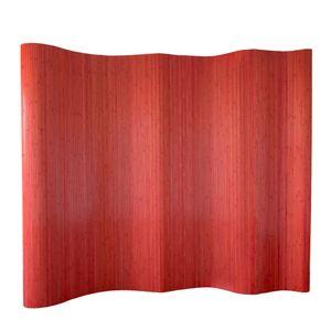 Homestyle4u 304, Raumteiler Sichtschutz Bambus Trennwand Wellenform Rollbar, Rot Matt, BxH 250x200 cm