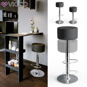 Vicco Design Barhocker 2er Set Schwarz Schminkhocker höhenverstellbar Drehstuhl