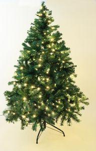 HABAU Künstlicher Weihnachtsbaum, beleuchtet mit Lichterkette und Metallständer, 180 cm