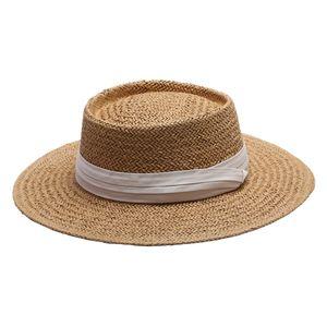 Damen Mode Strohhut Panamahut Sonnenhut Strandhut Damenhut Schleife Hut Krempenhut Schlapphut Farbe Weiß