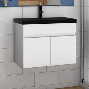 Waschtisch mit Unterschrank 60 cm Badmöbel Set mit Waschbecken Schwarz Gäste WC Weiß Matt