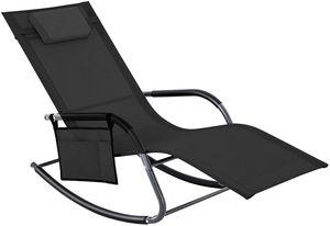 SONGMICS Schaukelstuhl mit Kopfstütze und Seitentasche | Gartenstuhl Sonnenliege Eisengestell atmungsaktiv bis 150 kg belastbar schwarz GCB23BKV1