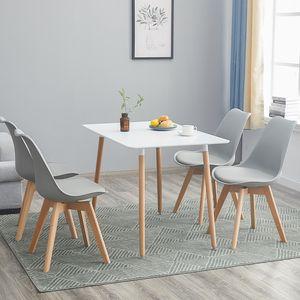 HJ WeDoo Esstisch mit 4 Stühlen(grau)Esszimmer Essgruppe 110x70x73cm(Weiß)für Esszimmer Essgruppe Esszimmerstuhl