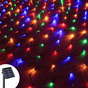 3x2M 204 LED Solar Lichternetz Lichtervorhang 8 Lichtmodi Außen Party Garten Lichterkette, Bunt