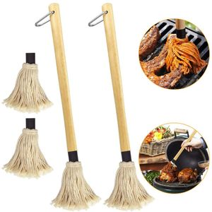 2 Stück BBQ Mops Pinsel 49cm Lang Grillpinsel Baumwollkopf Küchenpinsel Backpinsel mit langem Holz Griff BBQ Saucen Mop Marinaden Grillbürste mit 2 Stück Ersatz Köpfe zum Grillen Backen